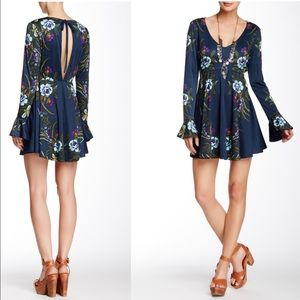 Free People Small Date Night Printed Dress Teal